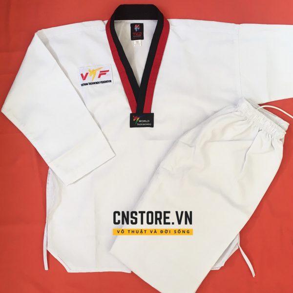đồng phục taekwondo cổ đỏ đen giá rẻ