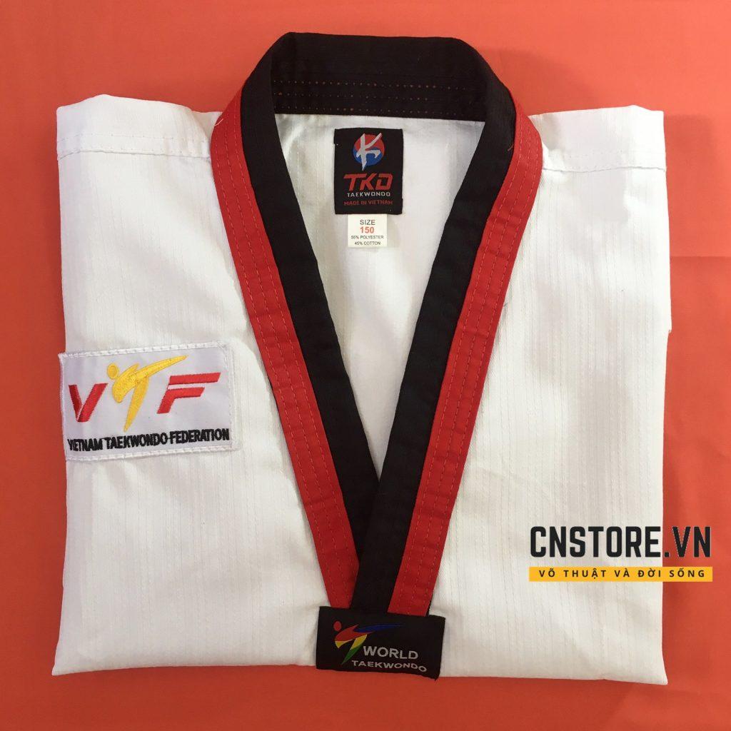 võ phục taekwondo cổ đỏ đen giá rẻ