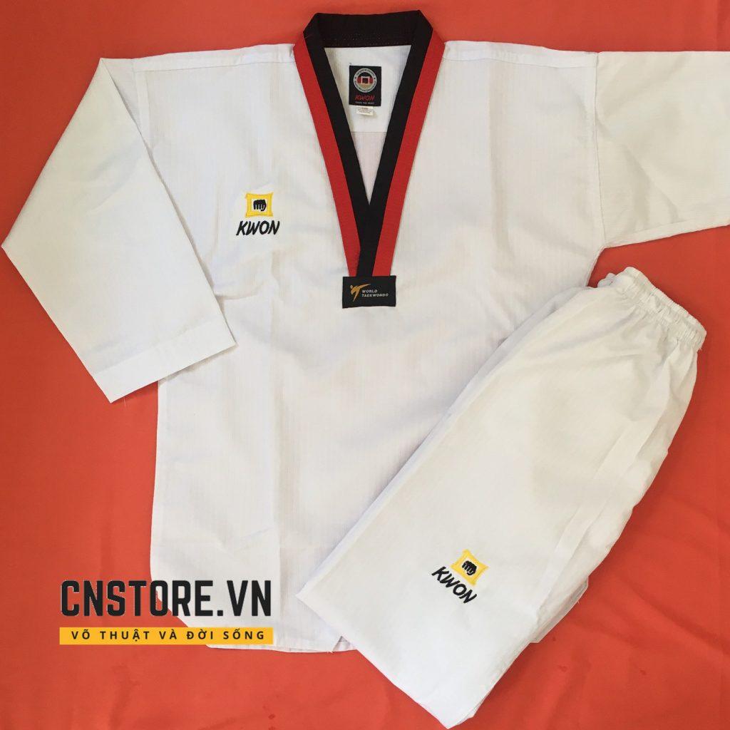 võ phục taekwondo cổ đỏ đen