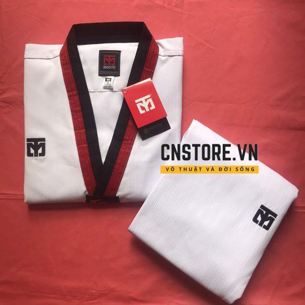 võ phục taekwondo cổ đỏ đen loại tốt